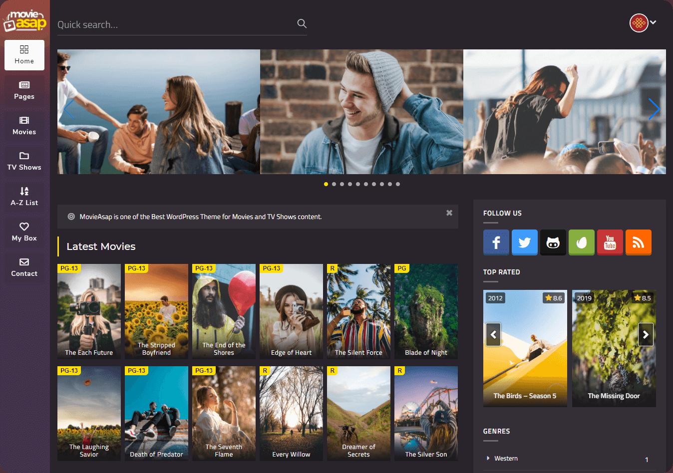 MovieAsap Modern Design