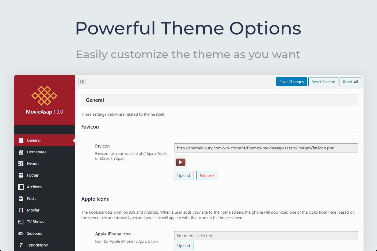 MovieAsap Powerful Theme Options